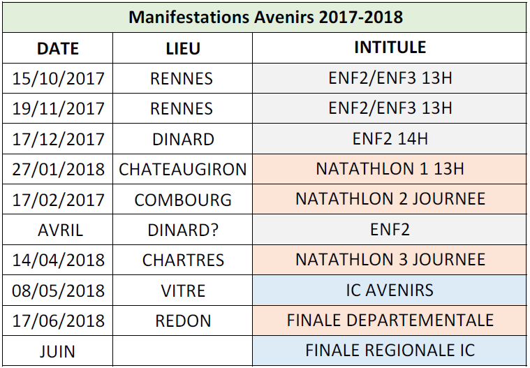 Calendrier Manifestations Avenirs 2017 - 2018